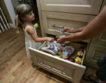 Hannah Butler, 3 has a drawer in the kitchen just for her so she can be independent although nanny...