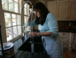 Erin Butler loves her double sink with a control that she can operate with her elbow in Denver,...