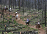 Lost Valley Ranch Wrangler Josh Davis (cq), right - front, leads a group of guests through a burnt...