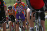 Riders negotiate the steep climbs of County Line Road at the Elephant Rock Cycling Festival on...