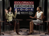 (DENVER Colo., August 30, 2004) Election and Fall fashion.  Fashion candidates debate.   ...