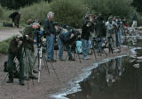 Photographers line the lake at Maroon Bells Wilderness Area, September, 21, 2007, near Aspen. They...