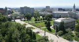 Civic Center Park, from the balcony of the DNA building, showing the McNichols building at right,...