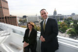 Ann Sperling, left, (cq) Managing Director and right, Gregory J. Weaver, President, Catellus...