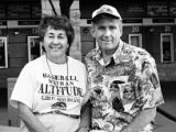 FOR KEVIN VAUGHAN STORY. Bob and Grace Fink pose outside Chase Field before game 2 of the Colorado...