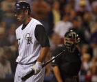 [ES0014] Colorado Rockies pinch hitter infielder Joe Kohansky after striking out in the ninth...