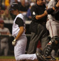 [ES0014] Colorado Rockies pitcher Steve Francis is called out at home plate in the bottom of third...