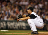 [ES0014] Colorado Rockies pitcher Steve Francis after picking up his fourth strike out in the top...