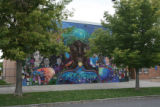 This is the painted mural wall of Mitchell School at 1350 E. 33rd Avenue. These eight DPS schools...