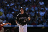 KNP00437 Colorado Rockies Garrett Atkins gets a walk in the bottom of the 6th inning.  The...