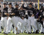 [ES0506] The Colorado Rockies gather on the field after defeating the  Arizona Diamondbacks  4-3...