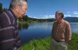 (GRAND LAKE Colorado  June 22, 2004) Gordon Scheer (left), past president of the Three Lakes...