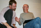 "Geoffrey Kent, left, the director of ""Macbeth,""  goes over the script with actor William..."