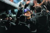 Colorado Rockies Matt Hollidayin the Rockies dugout after his three- run home run in the fifth...