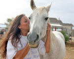 "Maxine Mager (cq) at her no-kill animal sanctuary ""Creative Acres"" in Hudson with..."