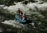 (ASPEN Colo., August 17, 2004)  Tourists head down the Roaring Fork river on a fishing trip July...
