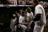 DM4807 Rockies players encourage Ramon Ortiz to take the field to celebrate with the remaining...