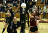 Mountain Vista's #3 Megan Roark goes up against Berthoud's  #11 Courtney  Woodruff  at Berthoud HS...