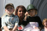 left to right, Braeden Bogucki, Tammie Stone and Shalie Lung, with her helmet tribute to her great...