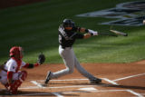 #2 Troy Tulowitzki  of the Colorado Rockies  suffers a broken bat against the Philadelphia...