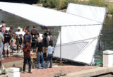 Eddie Murphy does a litttle shadow boxing before the shoot a scene at Confluence Park, in Denver,...