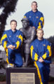 UCLA baseball players pose for a portrait around a statue of Jackie Robinson, at UCLA's Jackie...