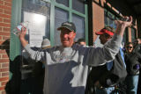 Diehard Rockies fan Pat Williams (cq),43, of Denver gestures as he walks away from the Coors Field...