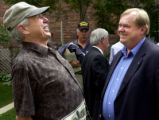 (DENVER, Colo., September 7, 2004) Jim Russell (left) jokes  with Jim Rassmann (right) after a...
