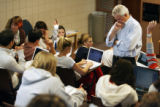 MJM811  Former Colorado Governor, Richard Lamm (cq) leads a discussion with the students of his...