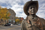 "Statue called ""The Cowboy"" stands on 13th Street and Miners Alley in downtown  Golden..."