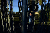 DM1846     Disc Golf players from Mile High Disc Golf play in Lakewood Gulch. The course opened in...