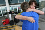 MJM145 Julie Spacek (cq), right, of Idledale, Colo.hugs her mother, Mary Jordan of Morrison, Colo....
