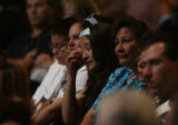 (at center) Friend and neighbor Xitlali Hernandez (cq) sheds a tear at the funeral services for 2...