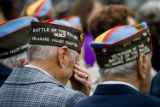 World War II veterans who turned back the Nazis weep openly during the dedication ceremony at...