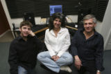 David Thomas, Robin Hoffman and Chris Thomas in the studio where the broadcasts originate in the...