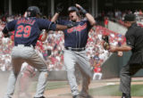 CSB102 - Cleveland Indians' Jason Michaels, center, reacts as he is called out at home by umpire...