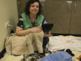 Peggy Risi, (cq), is a Veterinary Clinic Volunteer who handles the recovery section. She is...