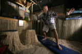 Todd Mosher has created a backyard getaway with his Hunter shed.  His theme is the beach in...