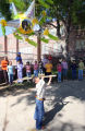 Angel Alvarado (cq), age 5, tries to hit a pinata during the last day of classes at Beach Court...