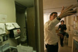 0197 William Allstetter invites the media into a room in the ifectious disease unit at National...