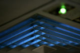 0574 This is a vent with an ultra-violet germicidal filter inside a room in the isolation ward at...