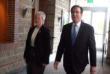 L to R: Dr. Gwen Huitt (cq) and National Jewish President and CEO Michael Salem (cq) enter  an...