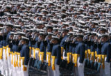 MJM514   Air Force Academy cadets salute during the National Anthem Falcon Stadium Wednesday May...
