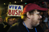 NEW YORK CITY, NY - AUGUST 30, 2004  Filmmaker Michael Moore enters the arena at the Republican...