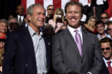 Greenwood Village, Colo.-September14,2004- President George W. Bush takes in the crowd with John...