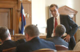 (DENVER, CO., SEPTEMBER 14, 2004) (Standing) Attourney at Law Mark G. Grueskin, representing the...