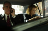 NEW YORK CITY, NY - AUGUST 30, 2004  Pete Coors, candidate for US Senate from Colorado, drives...