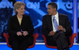 Democratic Presidential hopeful Senators Hillary Clinton of New York (L) and Barack Obama of...