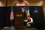 (8/30/04, New York, NY)  Colorado GOV. Bill Owens speaks to the Colorado delegates while Nick De...