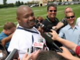 Denver Bronco defensive tackle #63 Sam Adams (cq)  talks to the media after  mini training camp at...
